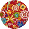 Safavieh Four Seasons 4-ft x 4-ft Round Red Floral Indoor/Outdoor Area Rug