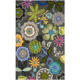Safavieh Four Seasons Rectangular Gray Floral Indoor/Outdoor Woven Area Rug (Common: 8-ft x 10-ft; Actual: 8-ft x 10-ft)
