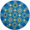 Safavieh Four Seasons 4-ft x 4-ft Round Blue Geometric Indoor/Outdoor Area Rug