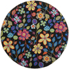 Safavieh Four Seasons 4-ft x 4-ft Round Black Floral Indoor/Outdoor Area Rug