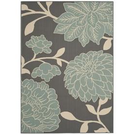 Safavieh Hampton Rectangular Gray Floral Indoor/Outdoor Woven Area Rug (Common: 6-ft x 9-ft; Actual: 6.58-ft x 9.5-ft)