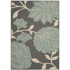 Safavieh Hampton Rectangular Gray Floral Indoor/Outdoor Woven Area Rug (Common: 8-ft x 11-ft; Actual: 8-ft x 11-ft)