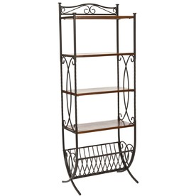 Safavieh 67.5-in H x 25-in W x 12-in D 4-Tier Wood Freestanding Shelving Unit