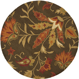 Safavieh Blossom Brown and Multicolor Round Indoor Hand-Hooked Area Rug (Common: 6 x 6; Actual: 72-in W x 72-in L x 0.5-ft Dia)