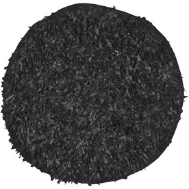 Safavieh Leather Shag 4-ft x 4-ft Round Black Solid Area Rug
