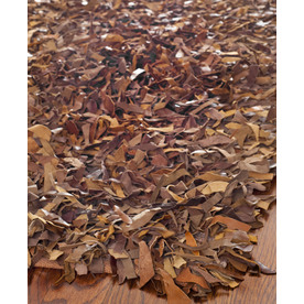 Safavieh Leather Shag 8-ft x 10-ft Rectangular Tan Solid Area Rug