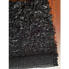 Safavieh Leather Shag 6-ft x 6-ft Square Black Solid Area Rug