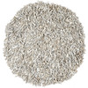 Safavieh Leather Shag 4-ft x 4-ft Round White Solid Area Rug