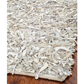 Safavieh Leather Shag Light Blue and Ivory Square Indoor Woven Area Rug (Common: 6 x 6; Actual: 72-in W x 72-in L x 0.67-ft Dia)
