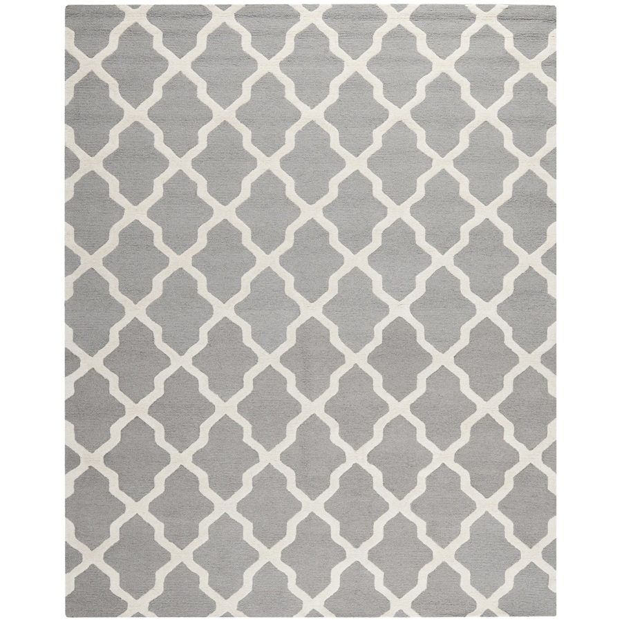 Shop safavieh cambridge rectangular gray geometric tufted for Geometric print area rugs