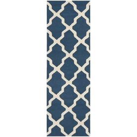 Safavieh Cambridge Navy Blue and Ivory Rectangular Indoor Tufted Runner (Common: 2 x 12; Actual: 30-in W x 144-in L x 0.75-ft Dia)