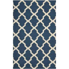 Safavieh Cambridge Navy Blue and Ivory Rectangular Indoor Tufted Area Rug (Common: 5 x 8; Actual: 60-in W x 96-in L x 0.58-ft Dia)