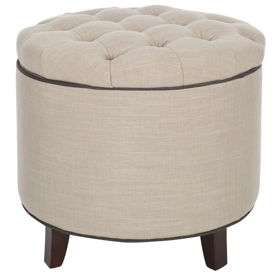 Shop safavieh hudson white grey round storage ottoman at for How to make a round ottoman with storage