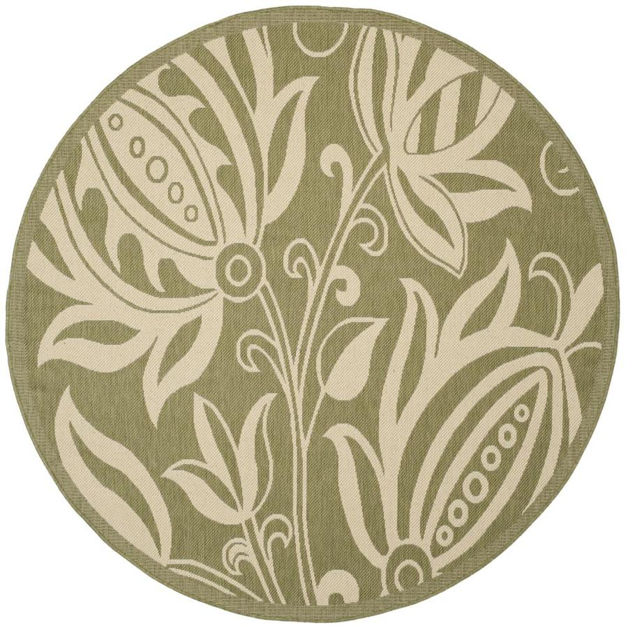 Shop Safavieh Courtyard Round Green Floral Indoor Outdoor Woven Area Rug Com
