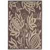 Safavieh Courtyard 8-ft x 11-ft 2-in Rectangular Tan Floral Indoor/Outdoor Area Rug