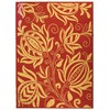 Safavieh Courtyard 5-ft 3-in x 7-ft 7-in Rectangular Red Floral Indoor/Outdoor Area Rug