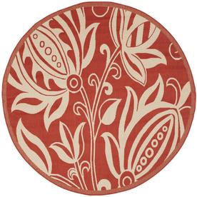 Safavieh Courtyard Red and Natural Round Indoor and Outdoor Machine-Made Area Rug (Common: 5 x 5; Actual: 63-in W x 63-in L x 0.33-ft Dia)