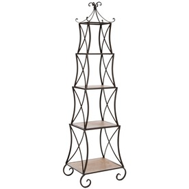 Safavieh American Home Pewter Medium Oak 71-in 4-Shelf Bookcase