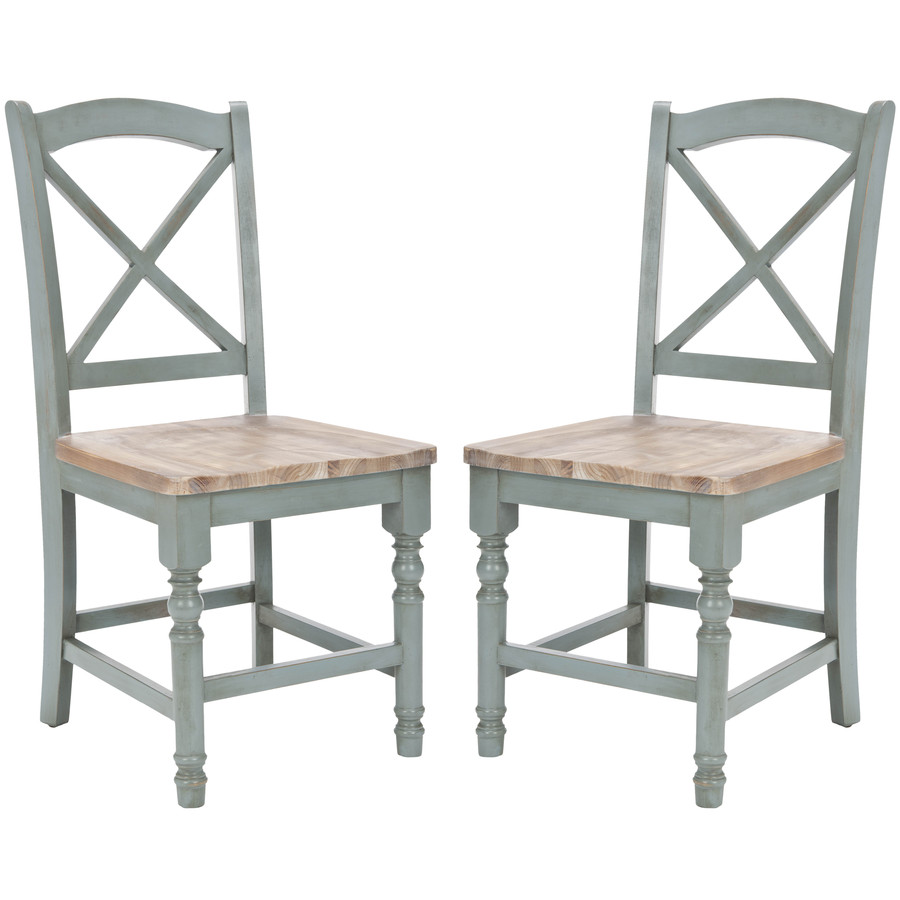 Set of 2 american home pale blue light oak accent chairs at lowes com