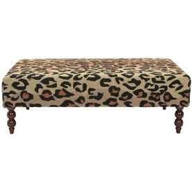 Shop safavieh mercer animal print indoor accent bench at Leopard print bench