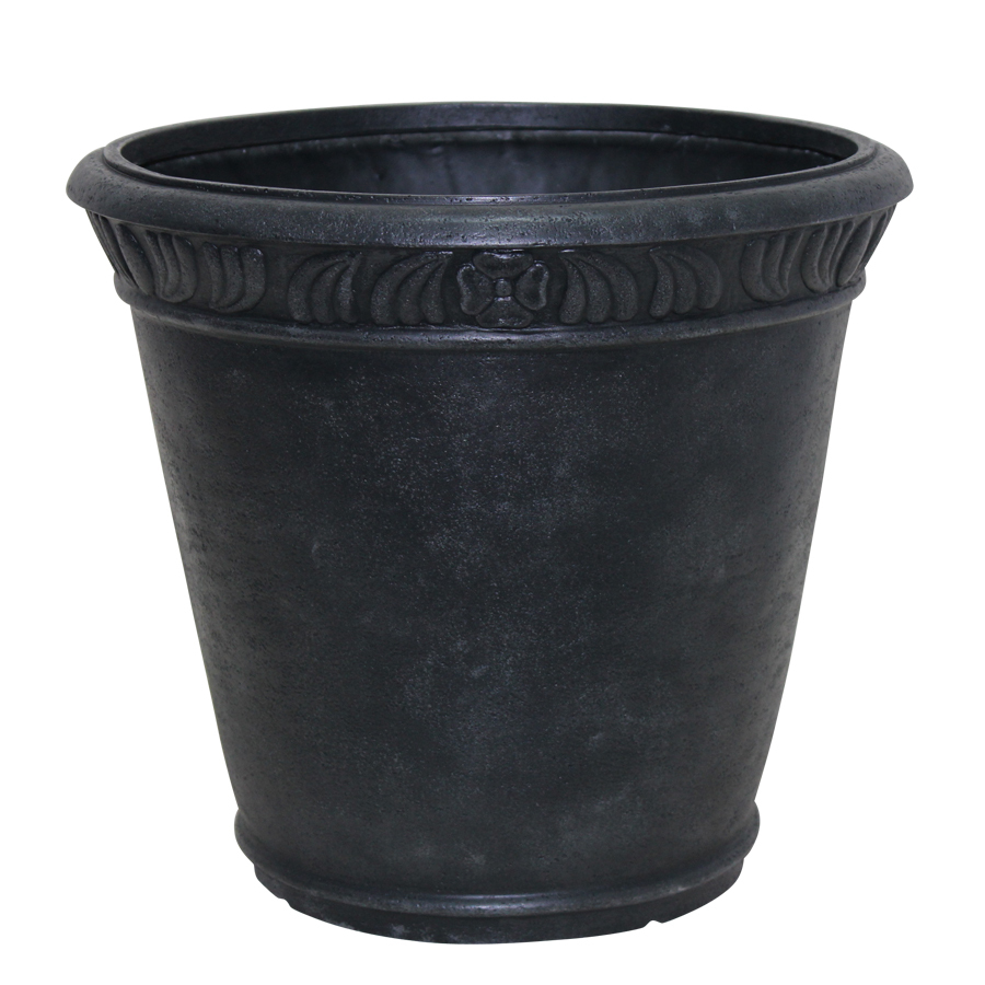 Garden Treasures 20 in H x 22 in W x 22 in D Black Fiberglass Indoor/Outdoor Planter