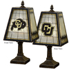 The Memory Company 14-1/2-in Brass Colorado Buffaloes Art Glass Table Lamp Accent Lamp with Multicolor Shade