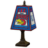 The Memory Company 14-1/2-in Brass Kansas Jayhawks Art Glass Table Lamp Accent Lamp with Multicolor Shade