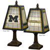 The Memory Company 14-1/2-in Brass Michigan Wolverines Art Glass Table Lamp Accent Lamp with Multicolor Shade