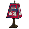 The Memory Company 14-1/2-in Brass Philadelphia Phillies Art Glass Table Lamp Accent Lamp with Multicolor Shade
