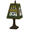 The Memory Company 14-1/2-in Brass Green Bay Packers Art Glass Table Lamp Accent Lamp with Multicolor Shade