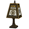 The Memory Company 14-1/2-in Brass Boston Bruins Art Glass Table Lamp Accent Lamp with Multicolor Shade