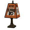 The Memory Company 14-1/2-in Brass Philadelphia Flyers Art Glass Table Lamp Accent Lamp with Multicolor Shade