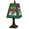 The Memory Company 14-1/2-in Brass Miami Dolphins Art Glass Table Lamp Accent Lamp with Multicolor Shade