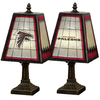The Memory Company 14-1/2-in Brass Atlanta Falcons Art Glass Table Lamp Accent Lamp with Multicolor Shade