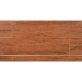 Bedrosians Prestige Cherry Glazed Porcelain Floor Tile (Common: 6-in x 24-in; Actual: 5-in x 23.75-in)