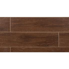 Bedrosians 11-Pack Prestige Walnut Glazed Porcelain Indoor/Outdoor Floor Tile (Common: 6-in x 24-in; Actual: 5.88-in x 23.75-in)