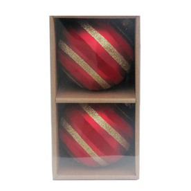 allen + roth S/2 100mm Handpainted Glass Stripped Flocking Ball Set  (2 Pack of Red)