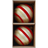 allen + roth Handpainted Glass Stripped Flocking Ball Set (2-Pack Gold)