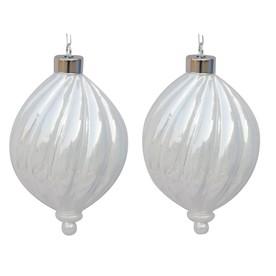 allen + roth 2-Pack White Ornament Set