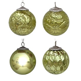 allen + roth 4-Pack Green Ornament Set