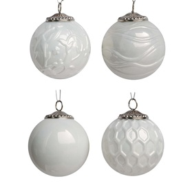 allen + roth 4-Pack White Ornament Set