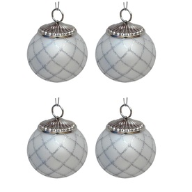 allen + roth 4-Pack White and Silver Ornament Set