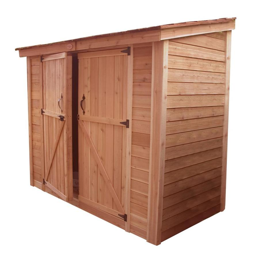 Shop outdoor living today lean to cedar wood storage shed for Lean to storage shed