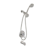 AquaSource Brushed Nickel Pvd 1-Handle Bathtub and Shower Faucet with Multi-Head Showerhead