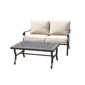 Allen + Roth Ebervale 2 Piece Aged Bronze Aluminum Patio Conversation Set  With Tan Solartex