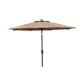 allen + roth 8-ft 10-in Light Brown Round Patio Umbrella