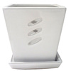 5.51-in H x 5.31-in W x 5.31-in D White Ceramic Planter