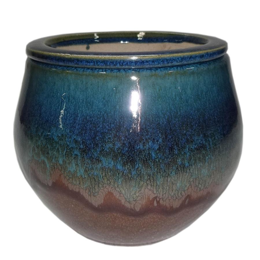 Garden Treasures 5.12 in H x 6.3 in W x 6.3 in D Blue Brown Ceramic Indoor/Outdoor Planter