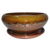 Garden Treasures 8.07-in x 4.49-in Copper Honey Ceramic Low Bowl Planter