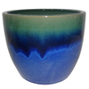 allen + roth 10.63-in x 9.84-in Blue Green Ceramic Planter
